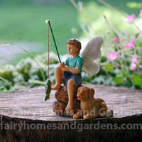 Fairy Boy and His Dog Fishing Figurine