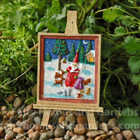 Miniature Easel and Christmas Painting