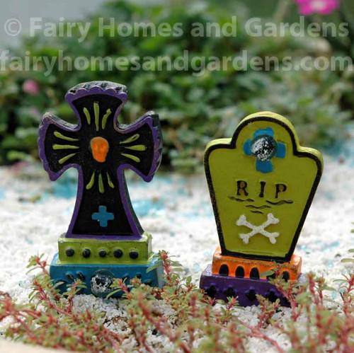 Miniature Gypsy Fairy Garden Tombstones - Set of Two