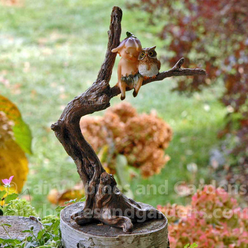 Miniature Garden Sprite Napping with Owl