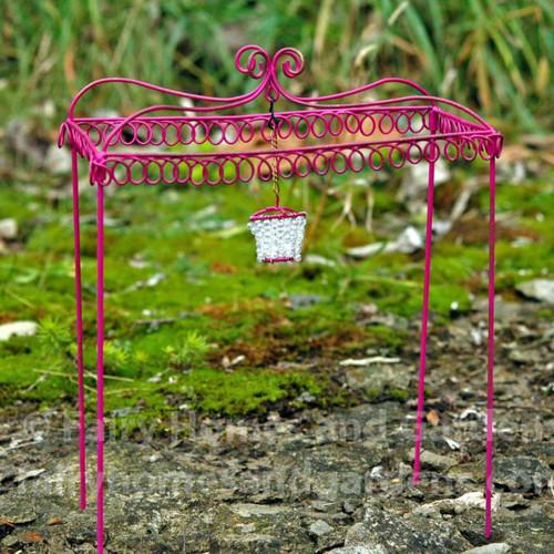 Miniature Pink Gazebo with Beaded Chandelier