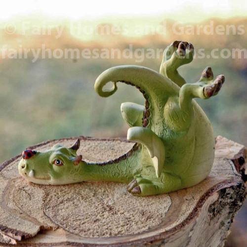 Miniature Green Dragon with Tiny Ladybug