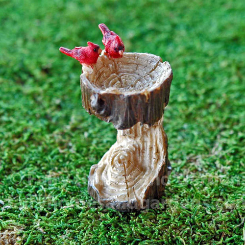 Miniature Hollowed Out Tree Stump Birdbath with Two Tiny Cardinals
