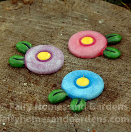 Set of Three Flower Stepping Stones