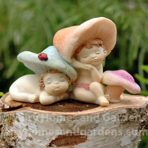 Miniature Sleeping Shroom Fairy Babies