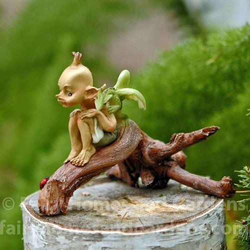 Pixie with Baby Dragon on Branch (side view)