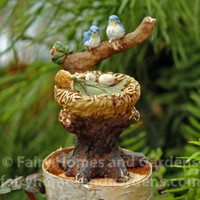 Miniature Fairy Baby is Watched Over by Tiny Bluebirds