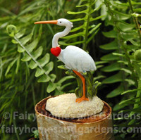 Miniature White Crane with Tiny Red Heart
