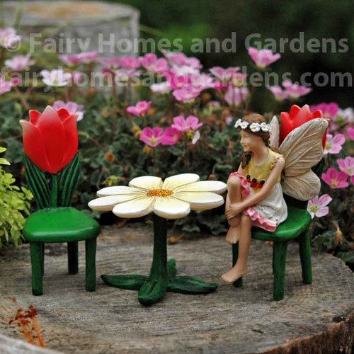 Miniature Flower Table and Tulip Chairs with Fairy Kathleen
