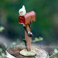Miniature Red Mailbox with Bluebird