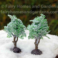 Set of 2 Miniature Trees Dusted with Snow