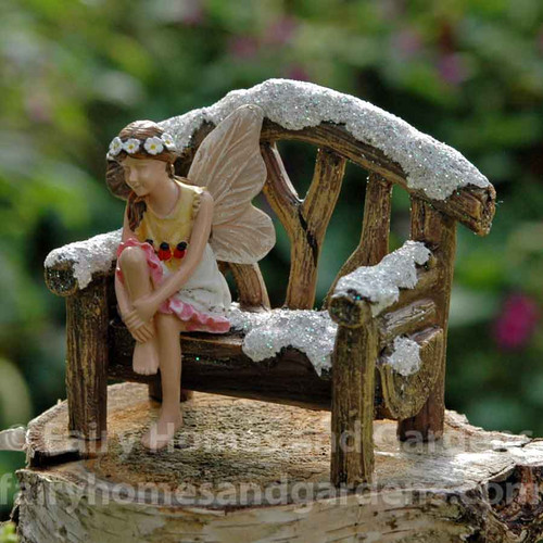 Miniature Snowy Woodland Bench with Fairy Kathleen