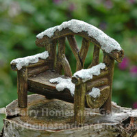 Miniature Snowy Woodland Bench