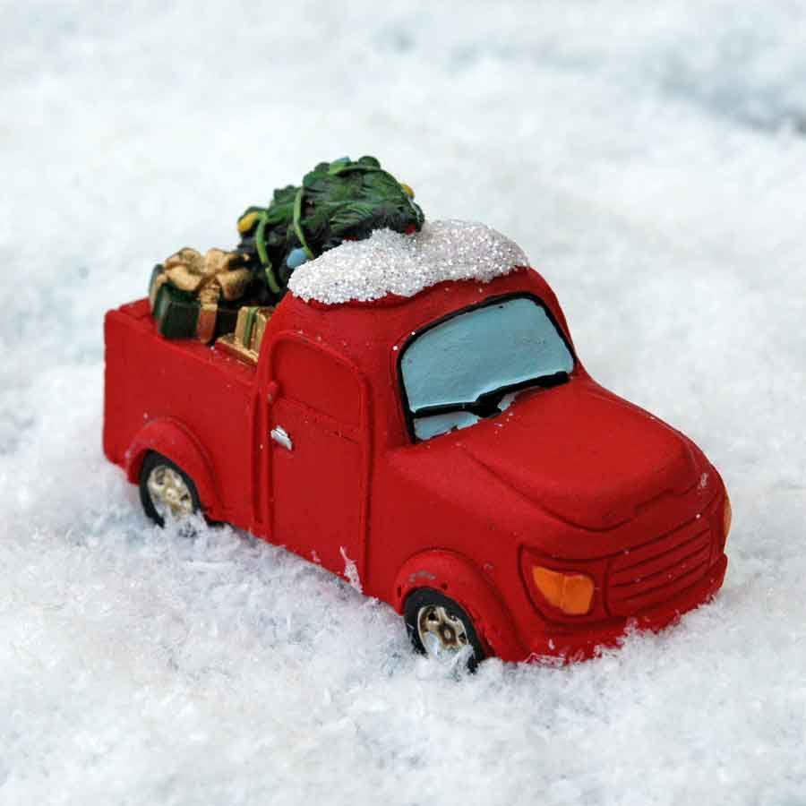 Red Christmas Truck.Miniature Red Christmas Truck