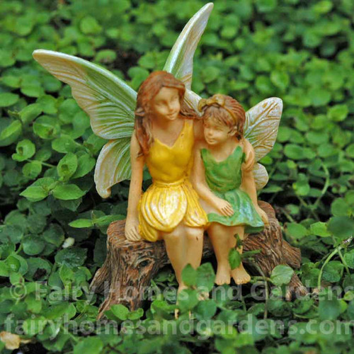 Miniature Fairy Sisters on Bench