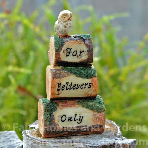 """Miniature """"For Believers Only"""" Fairy Garden Sign"""