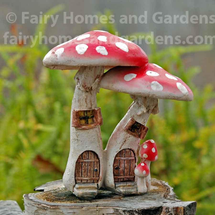 Details about  /3Pcs Cute Cartoon Red Mushroom House Miniature Fairy Garden Micro Houses