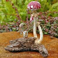 Miniature Red Mushrooms with Tiny Owl
