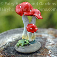 Miniature Red Mushrooms with Frog