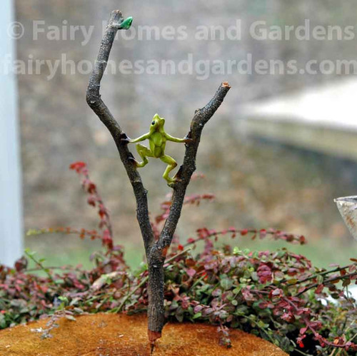 Miniature Frog on a Branch Stake