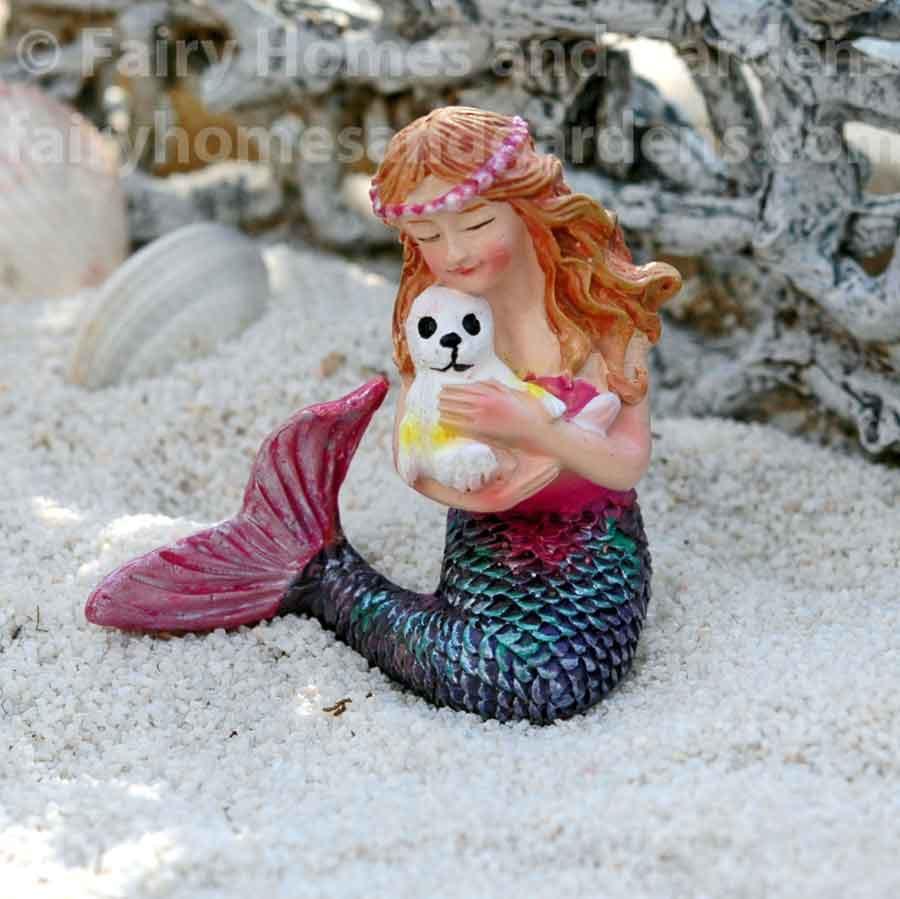 Miniature Figurine FAIRY GARDEN ~ Daydreaming Little Purple Shimmer Mermaid NEW