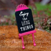 "Miniature ""Enjoy the Little Things"" Fairy Garden Sign"