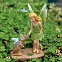 Miniature Fairy Dressed in Green with a Fairy Mouse