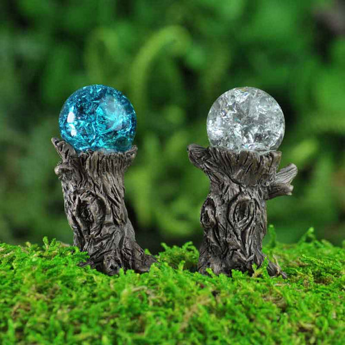 Miniature Crackled Glass Gazing Balls on Woodland Stumps