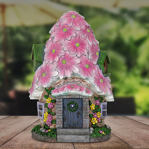 Large Spring Petals Solar Fairy House
