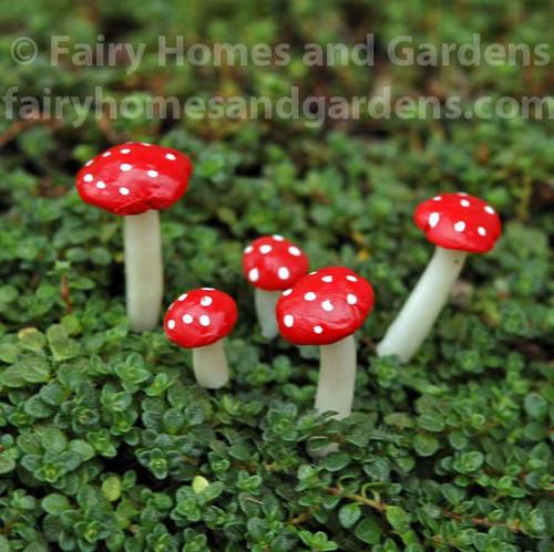 Miniature Fly Agaric Mushrooms - Set of 5