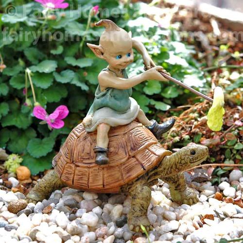 Miniature Garden Pixie Riding on a Turtle