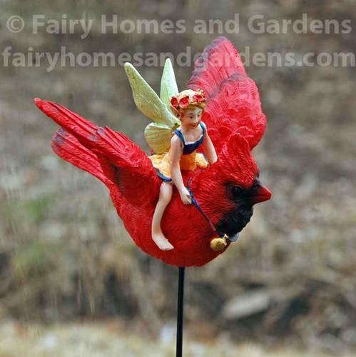 Fairy Flying on a Cardinal Garden Stake