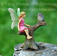 Woodland Knoll Fairy Perched with Owl