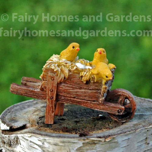Miniature Hatching Chicks in a Wheel Barrow