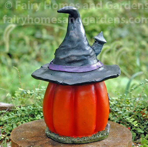 LED Pumpkin Witch Hat House  - Back View