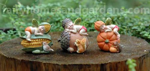 Sleeping Autumn Fairy Babies - Set of Three