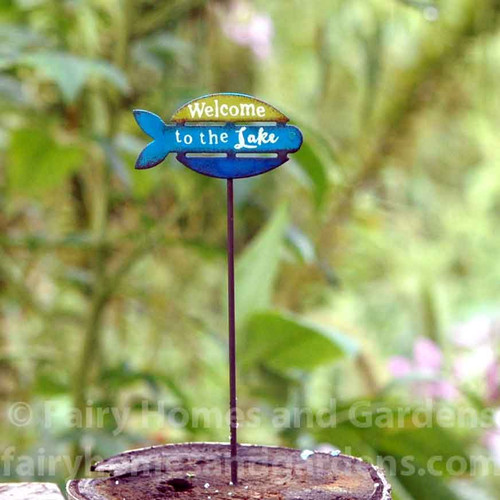"""Miniature """"Welcome to the Lake"""" Sign - Gypsy Fairy Garden"""