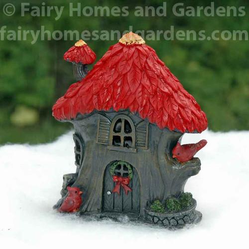 Miniature Christmas Poinsettia Fairy House with LED Lights
