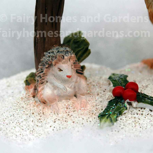 Miniature Christmas Squirrel Getting the Mail - Close-up View of Hedgehog