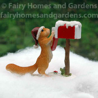 Miniature Christmas Squirrel Getting the Mail