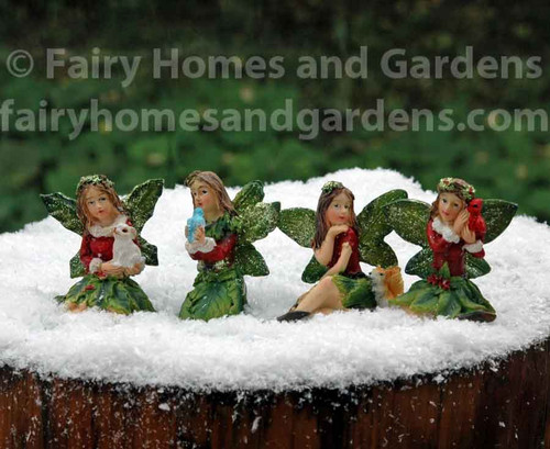Miniature Christmas Fairies with Glitter - Set of Four