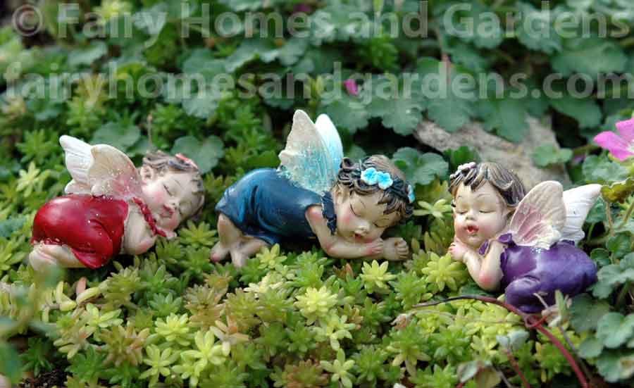 Set of 4 Fairy Garden Mini Baby Fairies On Stakes