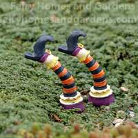Miniature Witch Leg Picks with Striped Stockings