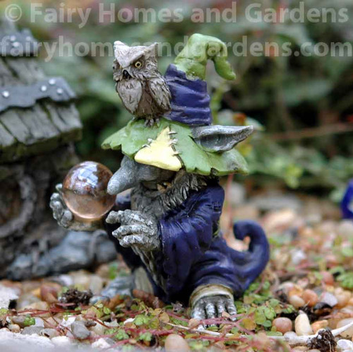 Miniature Wizard Troll With Owl and Magic Orb