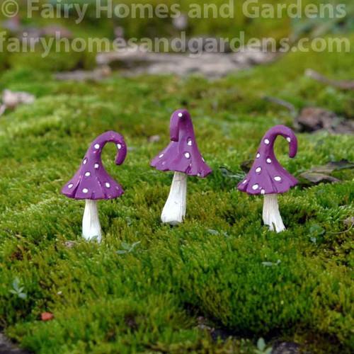 Miniature Whimsical Curled Top Mushrooms - Set of Three