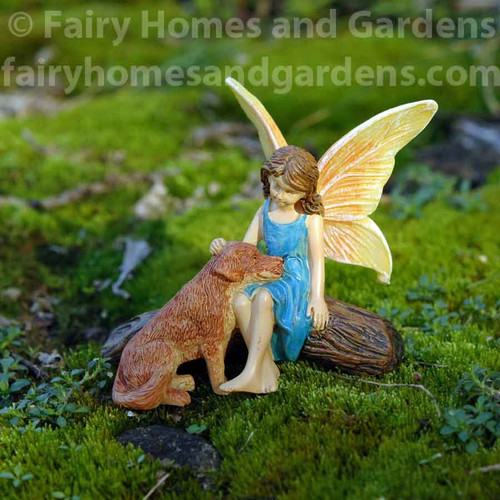 Miniature Woodland Knoll Fairy With Her Dog
