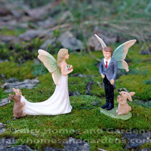 Miniature Fairy Bride and Groom with Rabbit Attendants