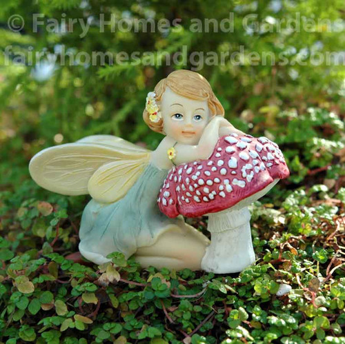 Miniature Top Collection Flower Fairy Resting on Mushroom