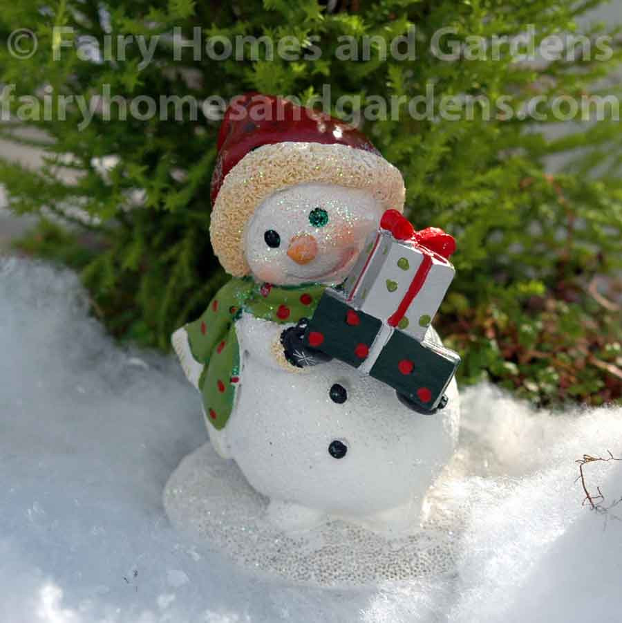 Miniature Snowman With Christmas Presents