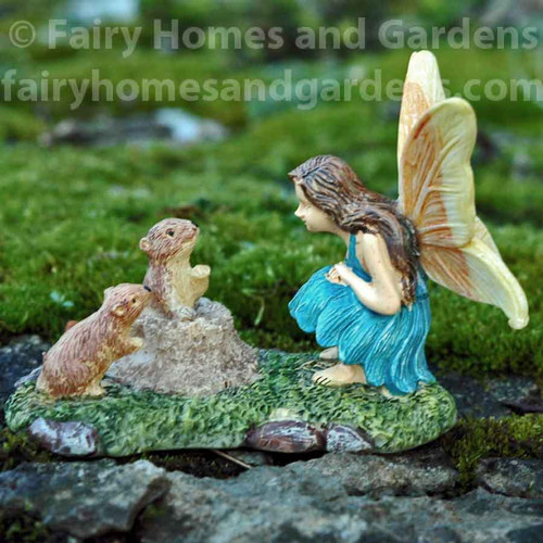 Woodland Knoll Fairy Chatting with Prairie Dogs